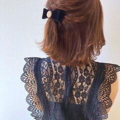 外ハネボブ 結婚式ヘアアレンジ 外ハネ パーティヘア ヘアスタイルや髪型の写真・画像