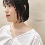 透明感カラー 前髪あり 似合わせカット 前髪パッツン