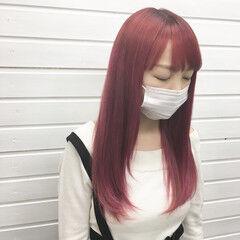 カラーバター ガーリー ピンクベージュ ヘアマニキュア ヘアスタイルや髪型の写真・画像