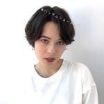 アンニュイほつれヘア ショート 暗髪 透明感カラー
