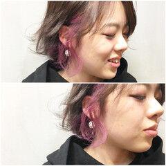 ラベンダーピンク ベリーピンク ストリート ラズベリーピンク ヘアスタイルや髪型の写真・画像