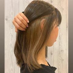 ガーリー ボブ インナーカラー インナーカラーグレー ヘアスタイルや髪型の写真・画像