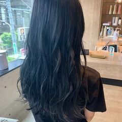 ブルージュ ネイビーブルー ロングヘア ブルーブラック ヘアスタイルや髪型の写真・画像