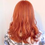 ピンク セミロング オレンジベージュ 裾カラーオレンジ