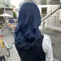 ネイビーカラー モード ブルージュ ブルーブラック ヘアスタイルや髪型の写真・画像