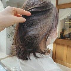 ゆるふわ インナーカラー アンニュイほつれヘア ミディアム ヘアスタイルや髪型の写真・画像