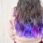 紫 フェミニン 裾カラー ロング