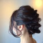 成人式 黒髪 簡単ヘアアレンジ フェミニン