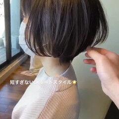 前髪あり ショートボブ 流し前髪 斜め前髪 ヘアスタイルや髪型の写真・画像