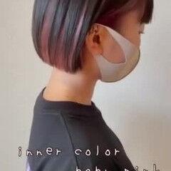 モード インナーピンク ミニボブ ボブ ヘアスタイルや髪型の写真・画像