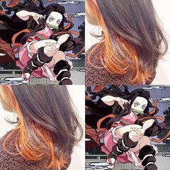 オレンジカラー セミロング ストリート 裾カラー ヘアスタイルや髪型の写真・画像