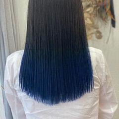 ブルーブラック ブルーグラデーション ネイビーブルー ブルー ヘアスタイルや髪型の写真・画像