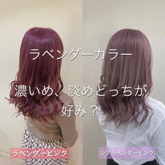 ラベンダーピンク セミロング 透け感ヘア ラベンダー ヘアスタイルや髪型の写真・画像