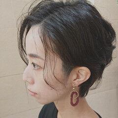 ショート 大人遊び心満点アシメヘアー 撮影 黒髪 ヘアスタイルや髪型の写真・画像