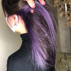 ピンクパープル インナーカラーパープル パープル インナーカラー ヘアスタイルや髪型の写真・画像