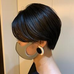 ハンサムショート 黒髪 黒髪ショート ナチュラル ヘアスタイルや髪型の写真・画像