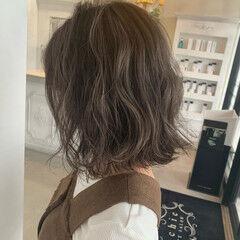 ボブ 極細ハイライト かわいい ガーリー ヘアスタイルや髪型の写真・画像