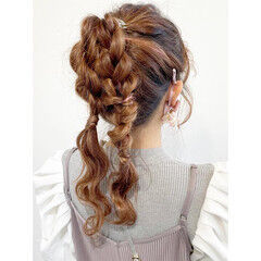 ヘアアレンジ ロング 簡単ヘアアレンジ セルフヘアアレンジ ヘアスタイルや髪型の写真・画像