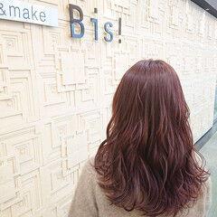 ピンクブラウン 髪質改善カラー 大人カジュアル セミロング ヘアスタイルや髪型の写真・画像