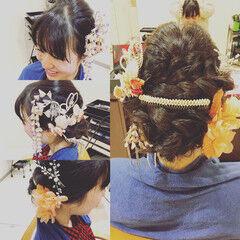 フェミニン ヘアアレンジ 成人式 振袖 ヘアスタイルや髪型の写真・画像