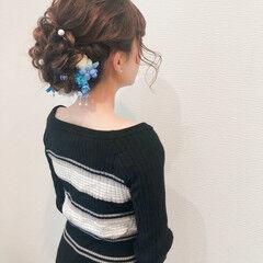 ヘアセット セミロング フェミニン アップ ヘアスタイルや髪型の写真・画像