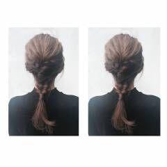 ラフ ストリート ロング フィッシュボーン ヘアスタイルや髪型の写真・画像