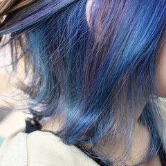 デザインカラー ボブ ガーリー 外ハネ ヘアスタイルや髪型の写真・画像