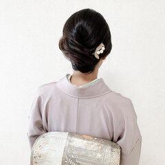 セミロング 訪問着 和装ヘア エレガント ヘアスタイルや髪型の写真・画像
