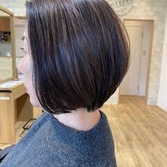 ミニボブ コンサバ イルミナカラー ショートヘア ヘアスタイルや髪型の写真・画像