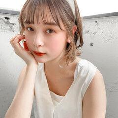 ミニボブ セルフヘアアレンジ 簡単ヘアアレンジ 切りっぱなしボブ ヘアスタイルや髪型の写真・画像