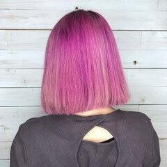 ガーリー 切りっぱなしボブ ボブ ピンク ヘアスタイルや髪型の写真・画像