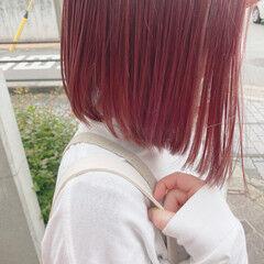 艶カラー ラベンダーピンク ラズベリーピンク ボブ ヘアスタイルや髪型の写真・画像