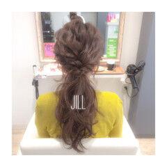 ローポニーテール 簡単ヘアアレンジ ヘアアレンジ ロング ヘアスタイルや髪型の写真・画像