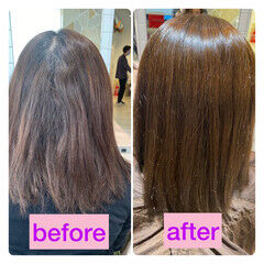 ナチュラル ストレート 縮毛矯正 髪質改善 ヘアスタイルや髪型の写真・画像