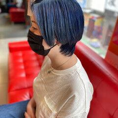 ウルフカット ネイビーカラー ダブルカラー モード ヘアスタイルや髪型の写真・画像