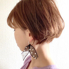 ショート女子 ショートボブ ナチュラル 丸みショート ヘアスタイルや髪型の写真・画像