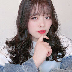 エレガント セミロング 韓国風ヘアー 韓国ヘア ヘアスタイルや髪型の写真・画像