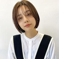 ショートボブ 切りっぱなしボブ ボブ 韓国ヘア ヘアスタイルや髪型の写真・画像