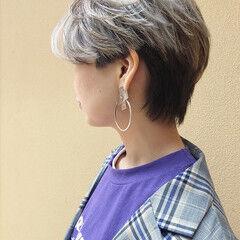 透明感 ホワイトシルバー ホワイトグラデーション バレイヤージュ ヘアスタイルや髪型の写真・画像