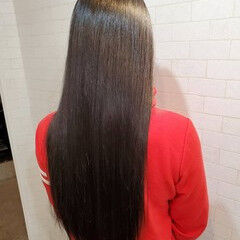 黒髪 縮毛矯正 艶髪 ロング ヘアスタイルや髪型の写真・画像