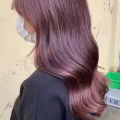 艶髪 ロング エレガント ピンクカラー ヘアスタイルや髪型の写真・画像