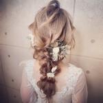 ロング エレガント セルフヘアアレンジ 結婚式