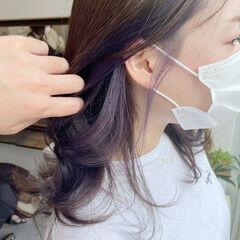 パープルカラー インナーカラー インナーカラーパープル ロング ヘアスタイルや髪型の写真・画像