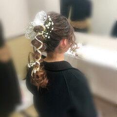 フェミニン ブライダル 成人式 セミロング ヘアスタイルや髪型の写真・画像