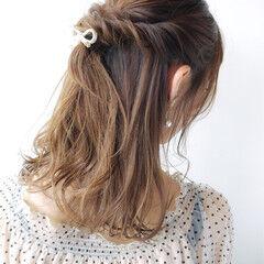 涼しげ 夏 セミロング 大人かわいい ヘアスタイルや髪型の写真・画像