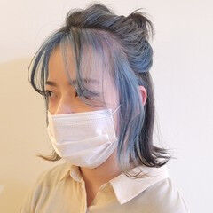 ボブ ハーフアップ インナーブルー 私とマスクとヘアアレンジ ヘアスタイルや髪型の写真・画像