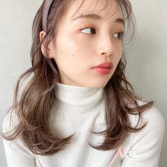 デート 大人かわいい セミロング ナチュラル可愛い ヘアスタイルや髪型の写真・画像