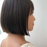 ミニボブ 切りっぱなしボブ ストレート 髪質改善