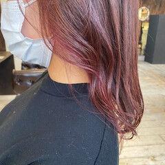 インナーカラー ピンク ピンクパープル ラベンダーピンク ヘアスタイルや髪型の写真・画像