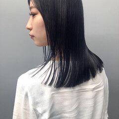 切りっぱなし 就活 ミディアム ナチュラル ヘアスタイルや髪型の写真・画像